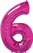 Number 6 Pink Super Shape Number Foil Balloon